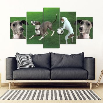 Italian Greyhound Playing football Print-5 Piece Framed Canvas- Free Shipping
