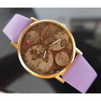 Tellurion Printed Surface Leather Strap Watch 050216 Color Purple W0526