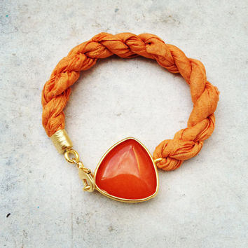 VALENTINE DAY bracelet orange large stone in gold frame gemstone handmade  bracelet gold bright  green natural silk israel jewelry