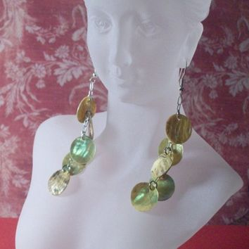 Long Shoulder Duster Earrings- Yellowish Tan Mother of Pearl