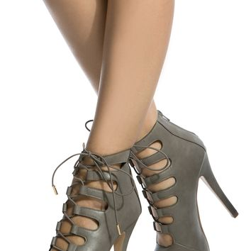 Grey Faux Leather Open Toe Lace Up Heels @ Cicihot Heel Shoes online store sales:Stiletto Heel Shoes,High Heel Pumps,Womens High Heel Shoes,Prom Shoes,Summer Shoes,Spring Shoes,Spool Heel,Womens Dress Shoes