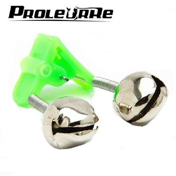 5 Pcs/lot  Bite Alarms fishing rod bells Fishing Accessory Rod Clamp Tip Clip Bells Ring Green ABS Outdoor Metal YJ-231