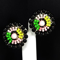 Vendome Round Beaded Earrings - Black, Pink, Green & Yellow Clip on Wheel or Circle Earrings, Vintage 1950's 1960s Mid Century Jewelry
