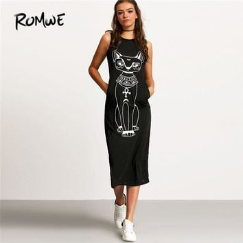 Women's  Cat Print Round Neck Sleeveless Shift Tank Below Knee Dress  S-XL