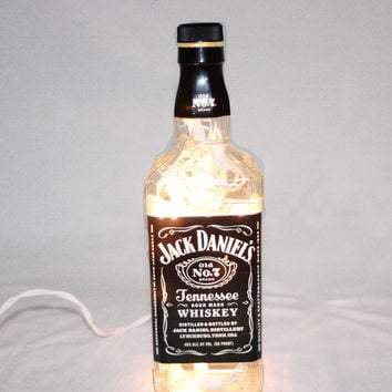 Liquor Bottle Light, Upcycled Jack Daniel's Liquor Bottle, Decor for Mancave, Bar Lighting