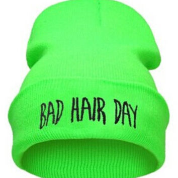 Winter Beanie Womens & Mens Bad Hair Day Knitted Black & Green Cuffed Skully Hat