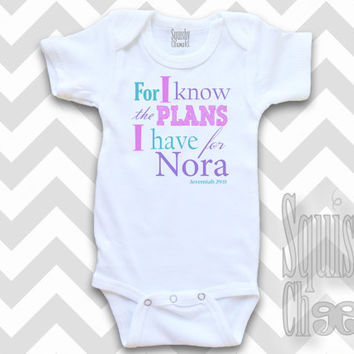 Christian Baby Outfit - For I Know the Plans Infant Outfit - Personalized Baby Onesuit - Baby Girl Clothes, Baby Shower Gift - Baby & Toddler