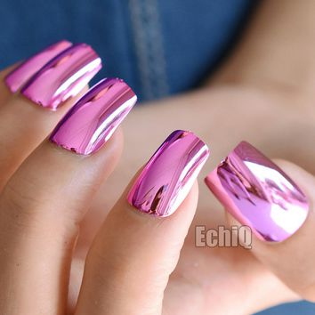 Sexy Fashion Hot Pink Rose Metal Fake Nails Metal Plate Punk Style Metallic Long False Nail for Party or Gift