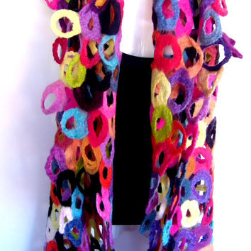 CUSTOM ORDER Felted Scarf, Multicolor, Rainbow Colors, Circles Holes Design, Long, Merino Wool Felted Lattice Scarf