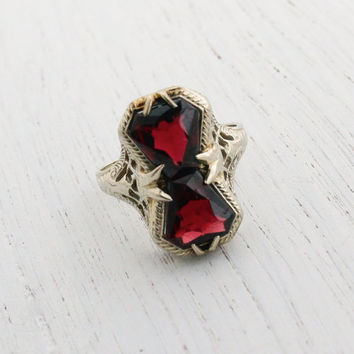 Antique 14k White Gold Filigree Garnet Ring - Vintage Size 4 1/2 Red Stones 1920s 1930s Art Deco Fine Jewelry / Stacked Crimson