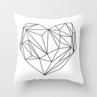 Heart Graphic (black on white) Throw Pillow by Mareike Böhmer Graphics