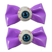 Kreepsville 666 Eyeball hairbow slides Purple