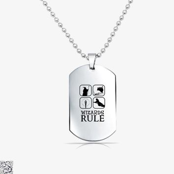 Wizards Rule, Lord Of The Rings Tag Necklace