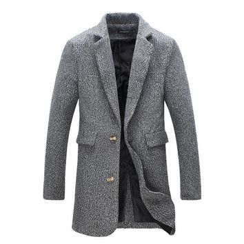 New Brand-Clothing Winter Warm Men Coat Fashion Wool Blend Overcoat For Men Casual Slim Fit Trench Coat Men