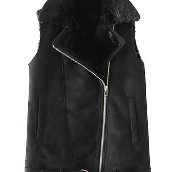 Black Lapel Faux Shearling Sleeveless Biker Jacket