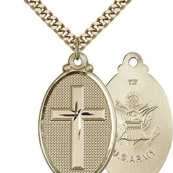 Men's 14K Gold Filled Cross Army Military Soldier Catholic Medal Necklace 617759873245