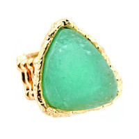 Pree Brulee - Mint Druzy Triangle Ring