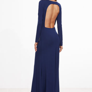 Ink Blue Open Back Knit Gown