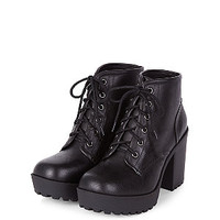 Black Lace Up Block Heel Ankle Boots