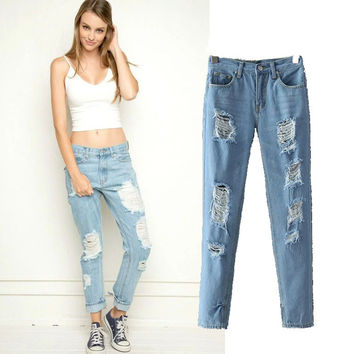 Women's Fashion Rinsed Denim Ripped Holes Denim Pants Skinny Pants [4919049220]