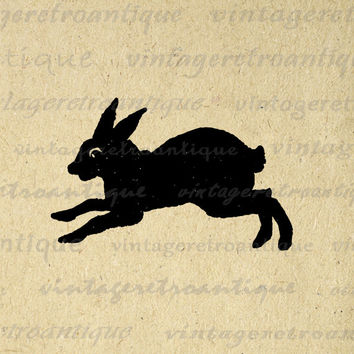 Printable Image Vintage Rabbit Silhouette Graphic Bunny Artwork Digital Download for Transfers Pillows Tea Towels etc HQ 300dpi No.4065