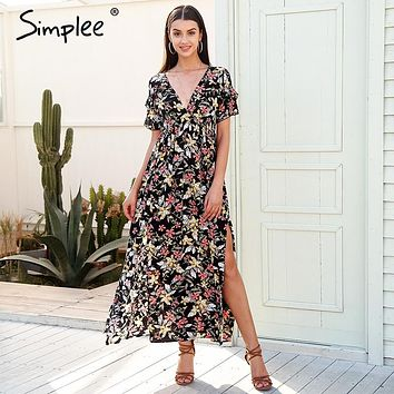 Simplee Deep v neck print long dress women Elegant split ruffle vestidos  Casual loose maxi dresses 2018 summer new