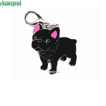 CHAMSGEND Happy High Quality New Design Cute Metal Black Dog Tag Disc Disk Pet ID Enamel Accessories Collar Necklace Pendant