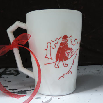 Vintage Hazel Atlas Child's Mug Little Red Riding Hood Nursery Rhyme Mug Mid century Children's Cup