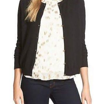 CeCe by Cynthia Steffe Women Button-Down Black Cardigan Top M