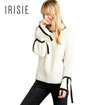 IRISIE Apparel White Sweet Preppy Color Block Female Pullover Sweaters Casual Loose Tie Sleeve Women Pullover Fashion Sweater
