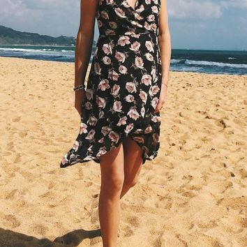 Black Flowers Irregular Draped Backless V-neck Bohemian Sweet Midi Dress