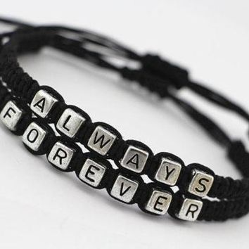 Couples Bracelets Set His And Hers Bracelets Always Forever Bracelets Anniversary Gifts Bridesmaid Jewelry Friendship Graduation Gifts (color: Black) = 1930185988
