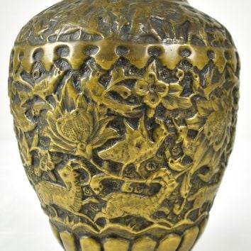 Vintage Bronze Urn or Vase, Double Lugged, Birds or Phoenix Engravings (5883)