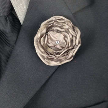 Grey Fabric Flower Wedding Boutonniere Finished with a Swarovski Crystal Rhinestone, Groom's Boutonniere, Groomsmen Boutonniere, Wedding