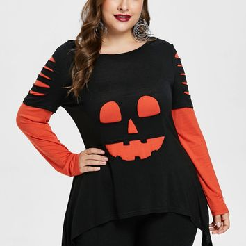 Wipalo Plus Size Two Tone Ripped Halloween T-Shirt For Women Fall Casual O Neck Long Sleeve T Shirt Women Pullovers Large Sizes