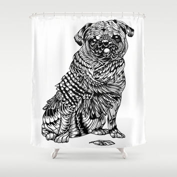 Pug Feather Shower Curtain by Huebucket