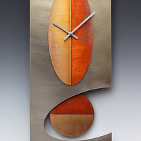Steel 24 Oval Pendulum clock  by Leonie  Lacouette: Metal Clock - Artful Home