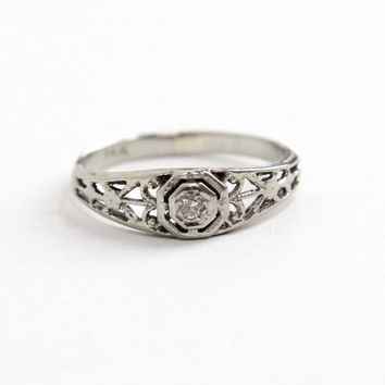 Vintage 14k White Gold Art Deco Filigree Diamond Ring - 1930s Size 3 Pinky Ring Engagement Wedding Style Fine Jewelry