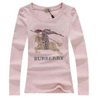 Burberry Fashion Sequins Logo Solid Long Sleeve Shirt Top Tee-1