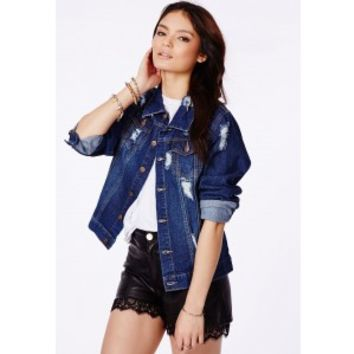 Missguided - Sorcha Denim Jacket With Ripped Detail