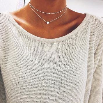 Simple Boho Heart Multilayer Necklace Chocker