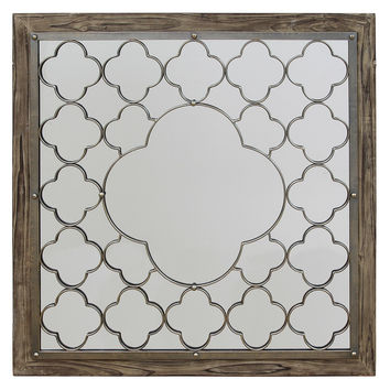 Brown Square Framed Mirror
