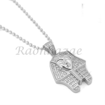 "Sterling Silver .925 AAA Lab Diamond King-tut w/2.5mm 20"" 24"" Moon Cut Chain S47"