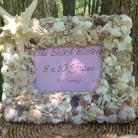 Pink Sea Shell Wedding Frame-Seashell Frame-Starfish Bridal Frame- Pink Sea Urchins Coastal Picture Frame 8x10- Beach wedding gift
