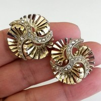 Vintage Har Clear Rhinestone Spiral Cluster Gold Tone Clip Earrings
