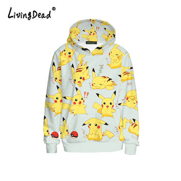 Living Dead Winter Hoodies Women Sweatshirts Cute Yellow Cartoon Pikachu Print Tumblr Sweatshirt Supreme Hoodie Woman Clothes
