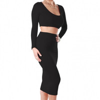 New Ladies Exclusive Candy Color High Waisted Cropped Outfit Two Piece Bodycon Dress