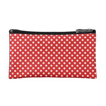 Elegant Feminine Classic White Polka Dots on Red Makeup Bags