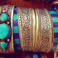 Stack able Nepalese Handmade Tibetan Silver Turquoise & Coral Adjustable Bangle- Hand etched Nepali Cuff bracelet- Tibetan Jewelry.