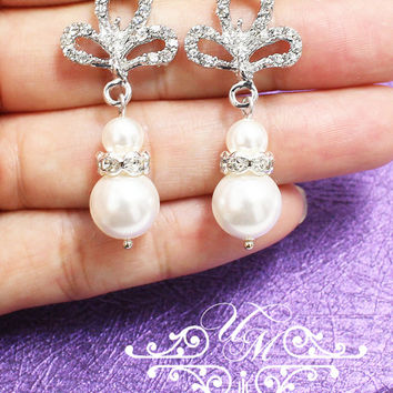 Wedding Jewelry Wedding Earrings Bridal Earrings Bridesmaids Earrings Dangle Earrings Swarovski Pearl Rhinestone earrings - RAINE